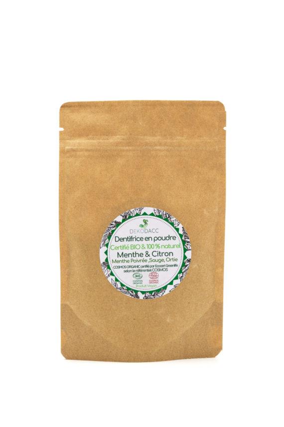 dentifrice dekodacc certifié bio & vegan menthe et citron