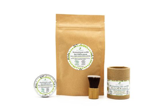 Shampoing sec dekodacc Bio en poudrier, pot ou recharge kraft