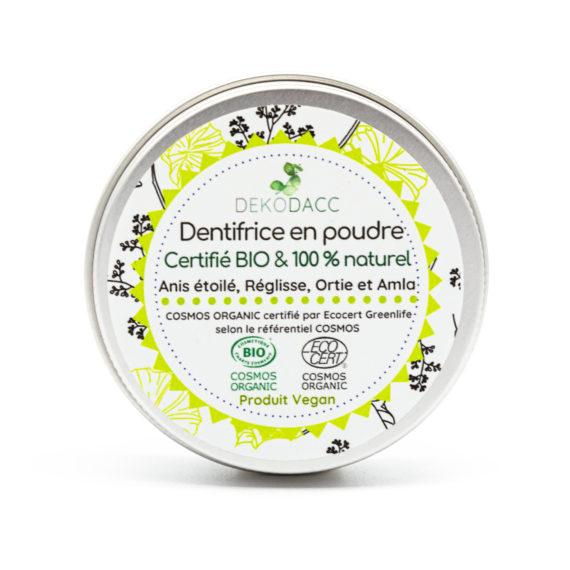 dentifrice dekodacc en poudre bio anis et réglisse en pot