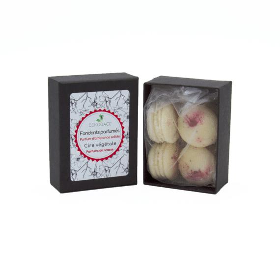 boîte de 4 fondants macarons patchouli dekodacc